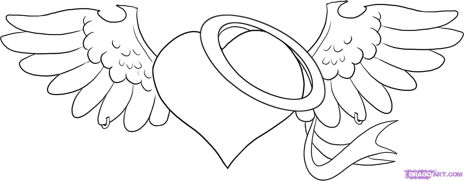 coloring pages of hearts with wings and roses best - Hearts Crosses Coloring Pages
