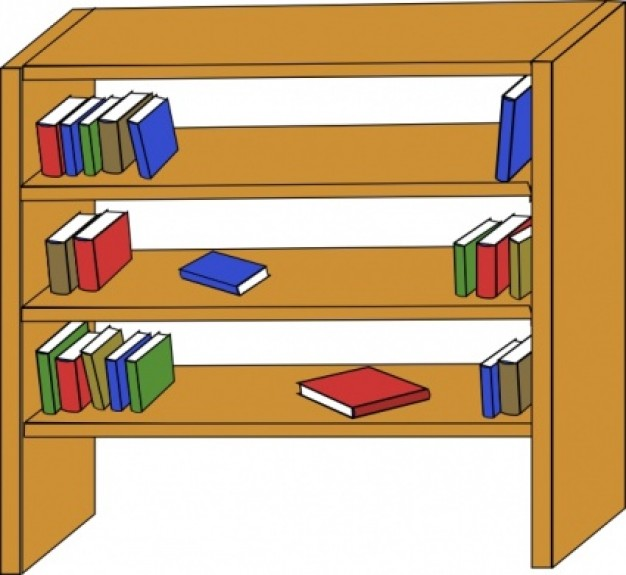Furniture Library Shelves Books clip art Vector | Free Download