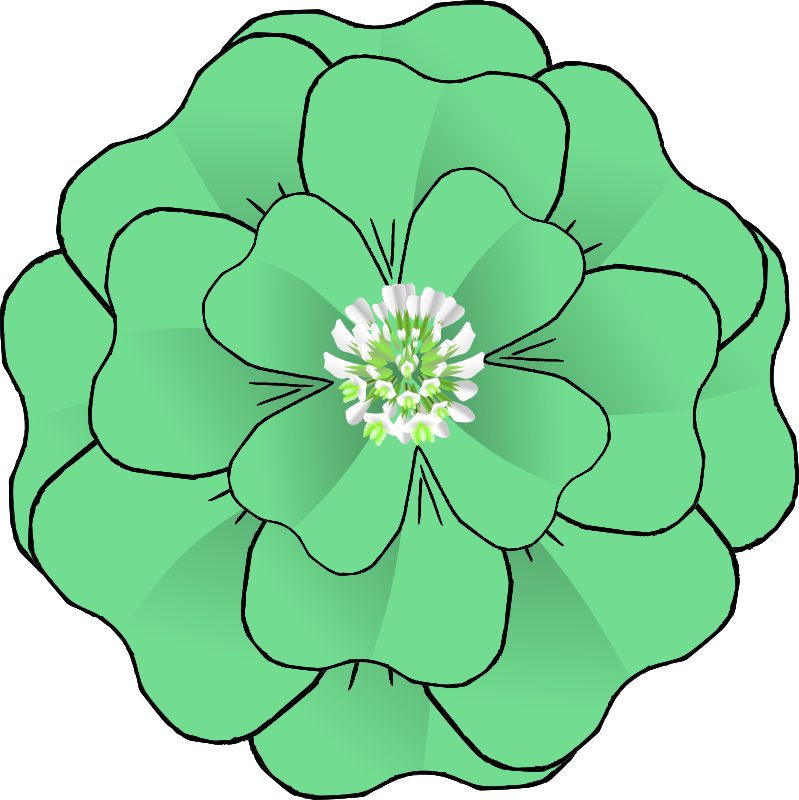 Clipart - Flower 4 Leaf Clover Corsage-resubmission