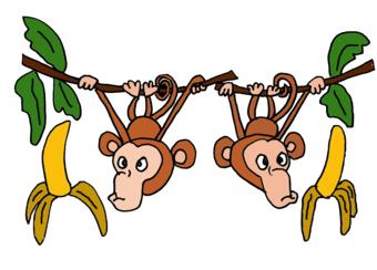 Cartoon monkeys hanging from a tree - photo#15