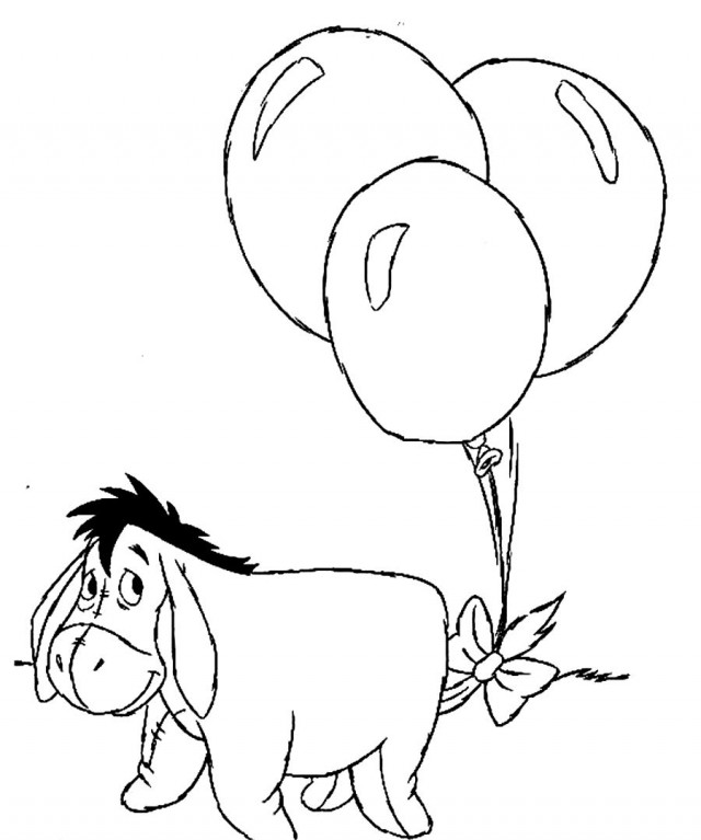 Eeyore Happy Birthday Coloring Pages