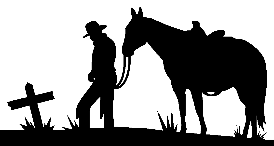 Cowboy kneeling at cross with horse car interior design for Cowboy silhouette tattoo