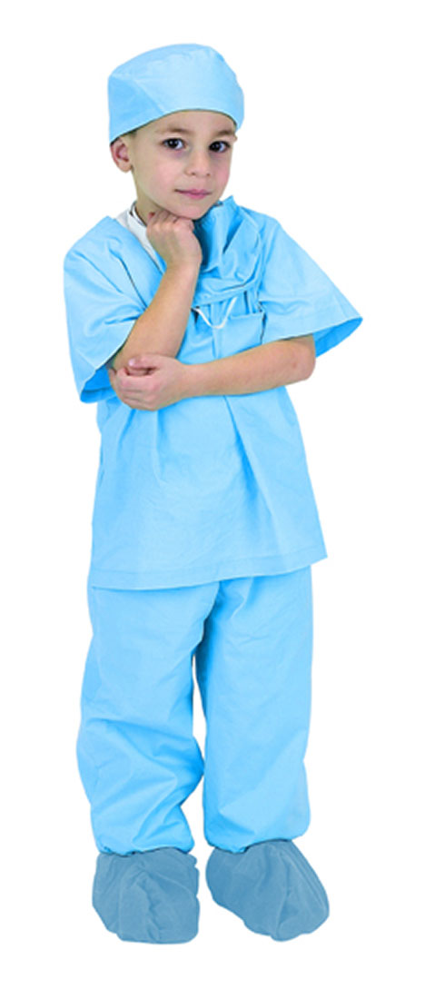 Child Blue Jr. Doctor Costume Scrubs with Cap - Doctor Costumes