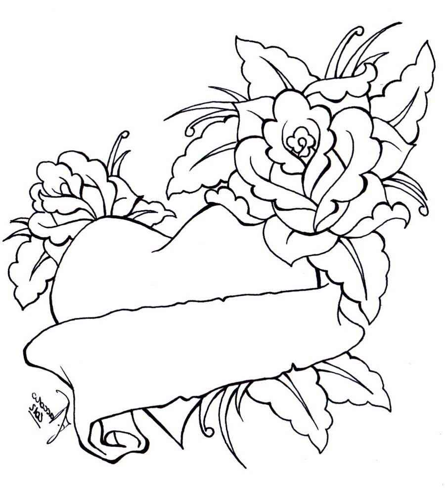 Roses And Heart Drawing Cliparts Co Roses And Hearts Coloring Pages 2