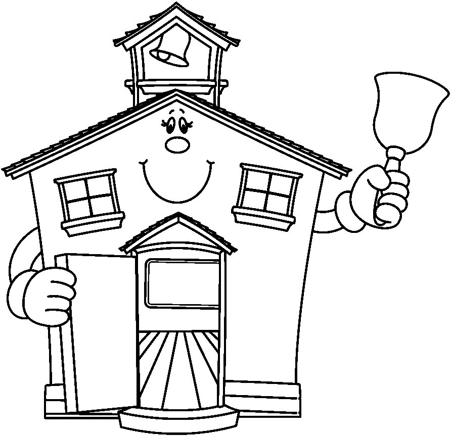 Schoolhouse Bw image - vector clip art online, royalty free ...