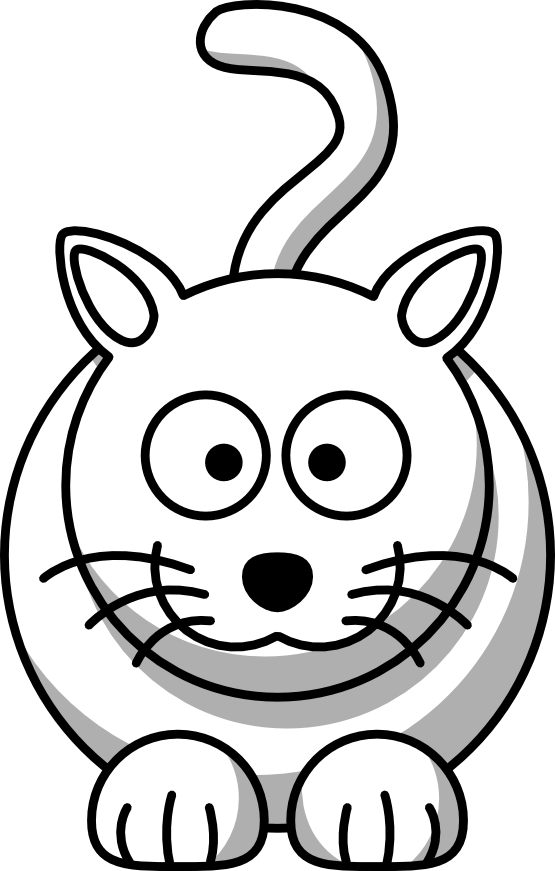 Lemmling Cartoon Cat Scalable Vector Graphics SVG Black White Line ...