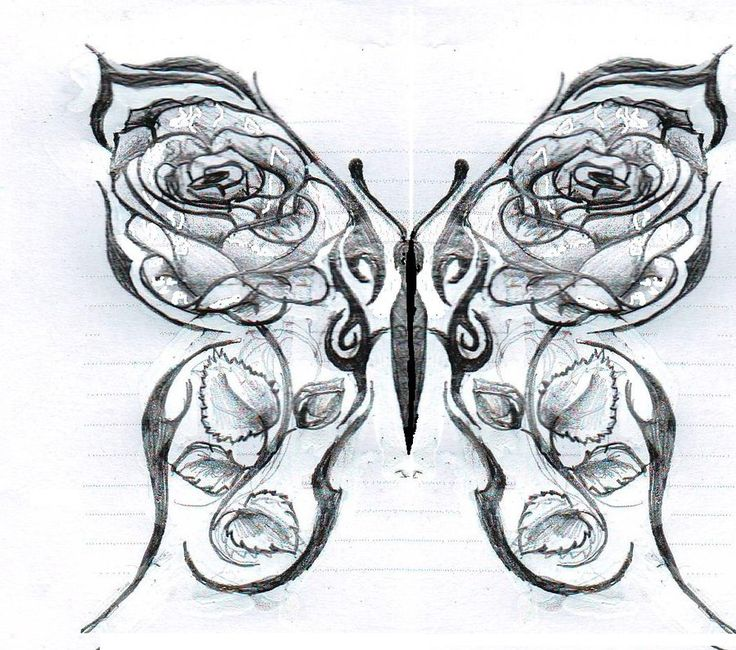 Drawings Of Roses And Hearts | Butterfly With Roses By ...