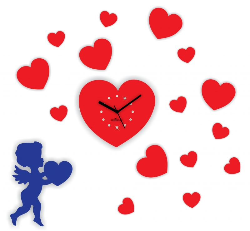 Buy Zeeshaan Cupid Heart Red & Blue Wall Clock Online | Best ...: cliparts.co/pictures-of-cupid-and-hearts