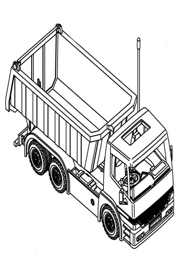 dump truck top view coloring page for kids | Kids Play Color