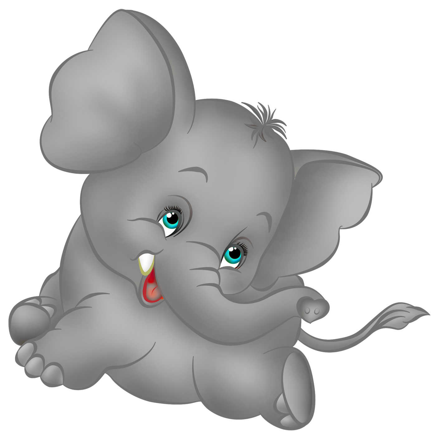 Grey Elephant Cartoon Free Clipart
