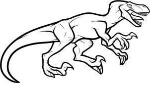 Realistic Dinosaurs - How to Draw a Velociraptor Dinosaur