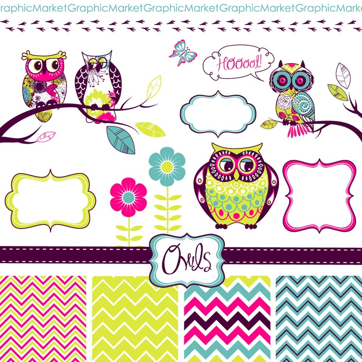 Owls Digital Clipart and Zig Zag Paper Pack - Clip art for scrapbooki…