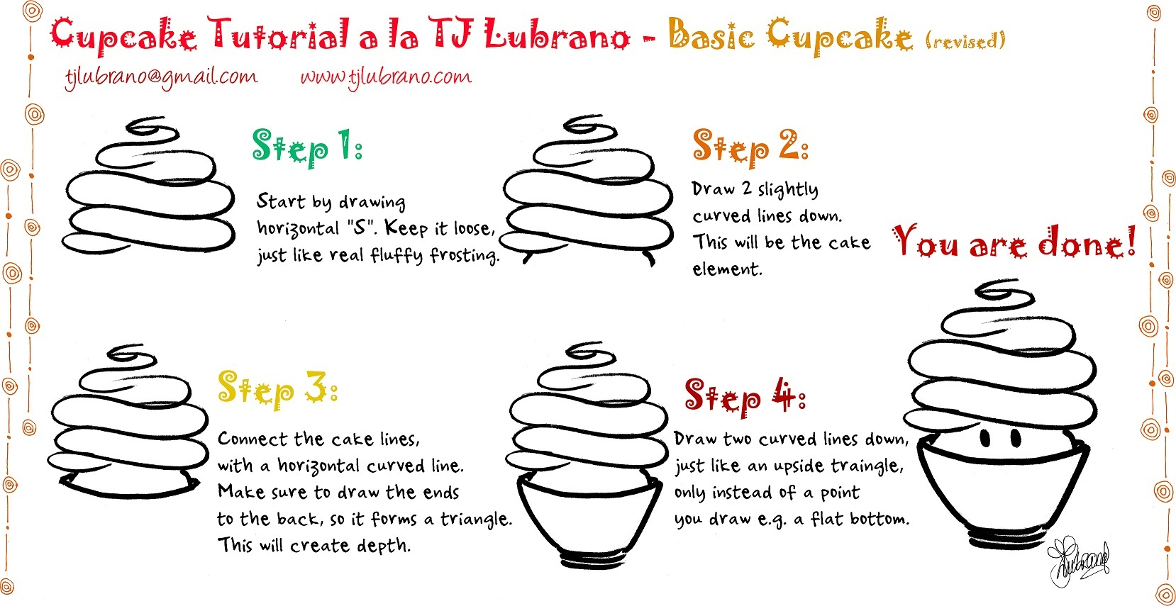 How to draw a birthday cupcake