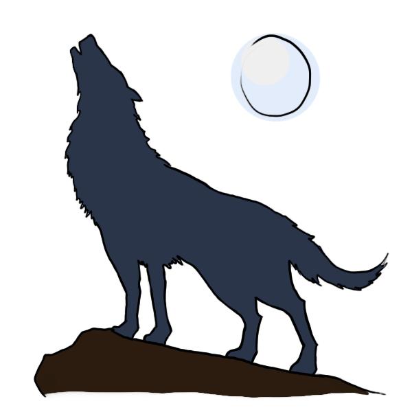 Cartoon wolf howling drawings - photo#4