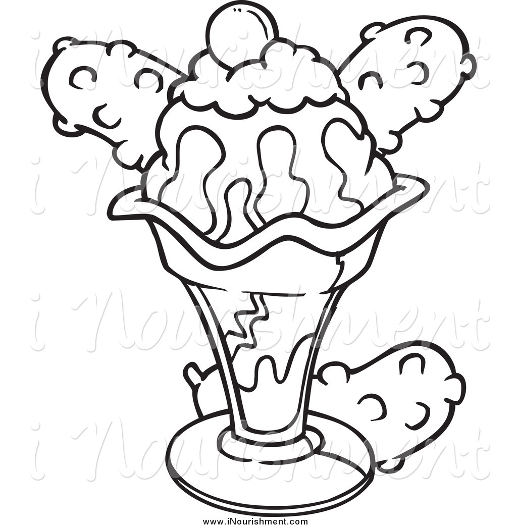 Ice Cream Sundae Clipart Black And White