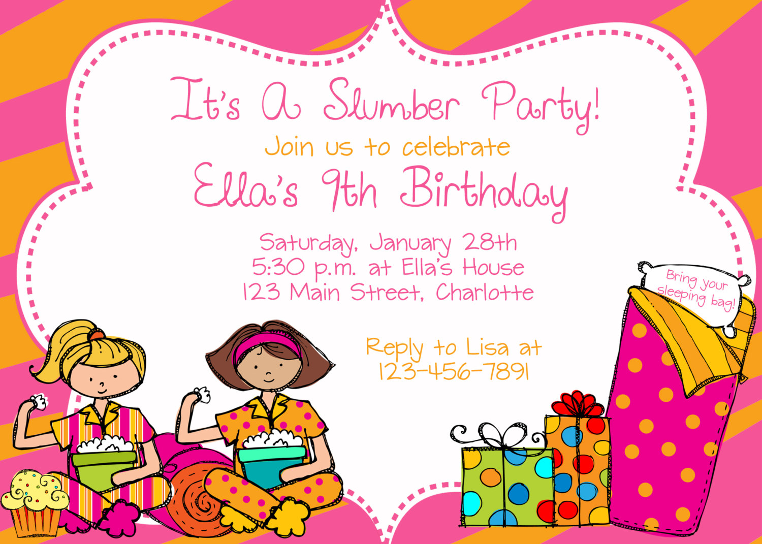 Slumber party birthday party invitation by TheButterflyPress