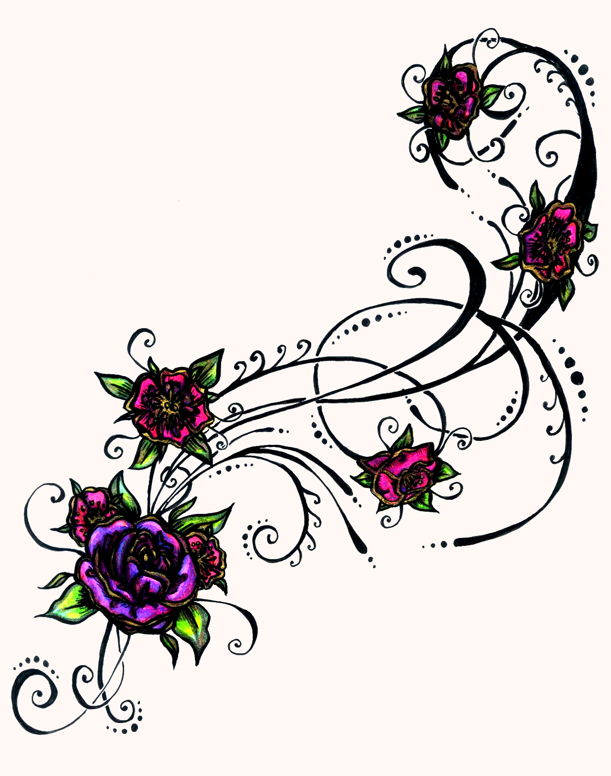Flower And Heart Tattoos - ClipArt Best