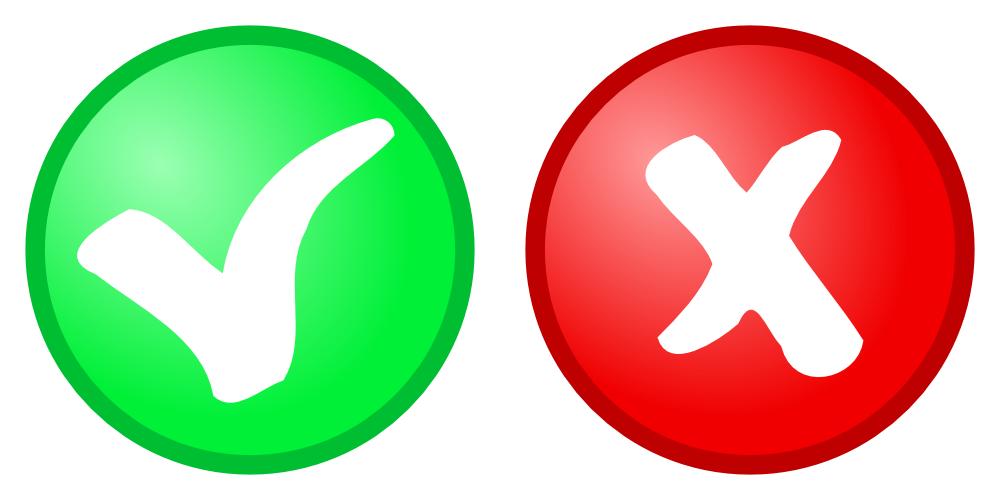 OnlineLabels Clip Art - Red Cancel + Green Confirm Icons