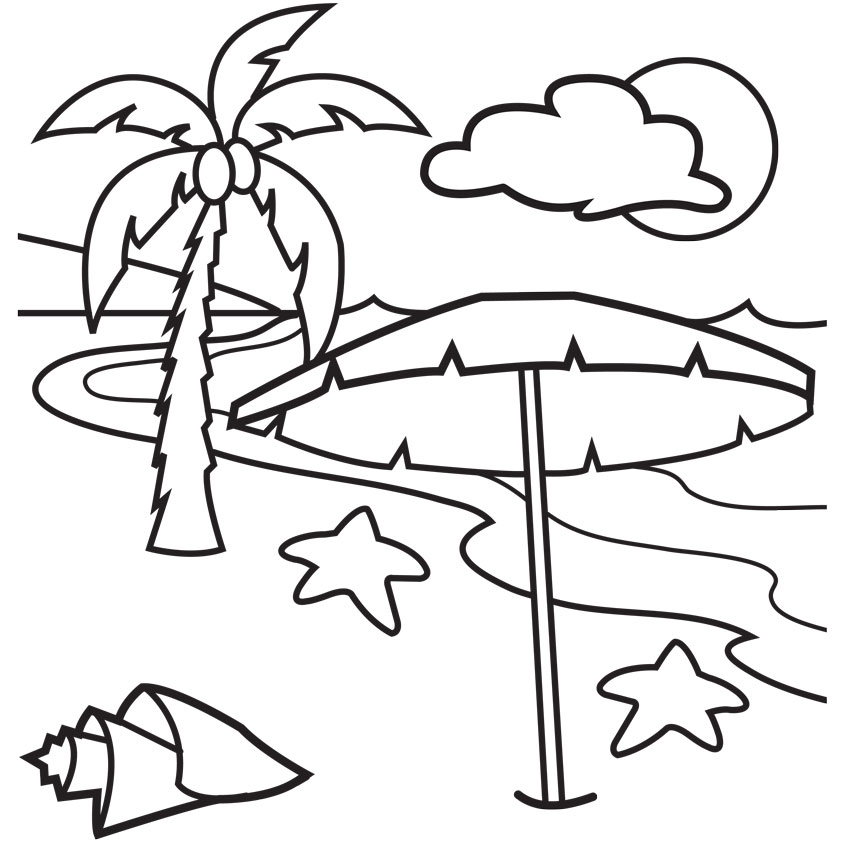 Beach Coloring Clipart