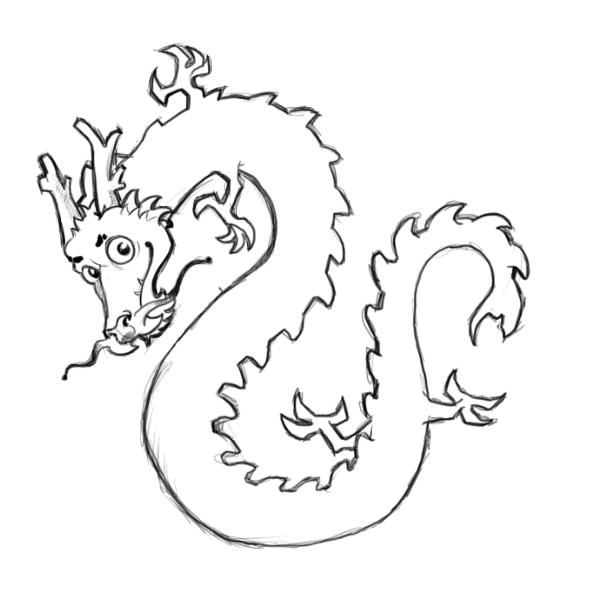 chinese dragon drawing easy - photo #13