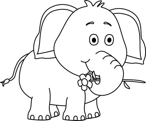 clip art black and white | Black and White Elephant with a Flower ...