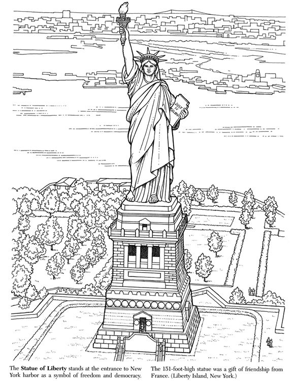 Coloring book page of statue of liberty for Activities for adults in nyc