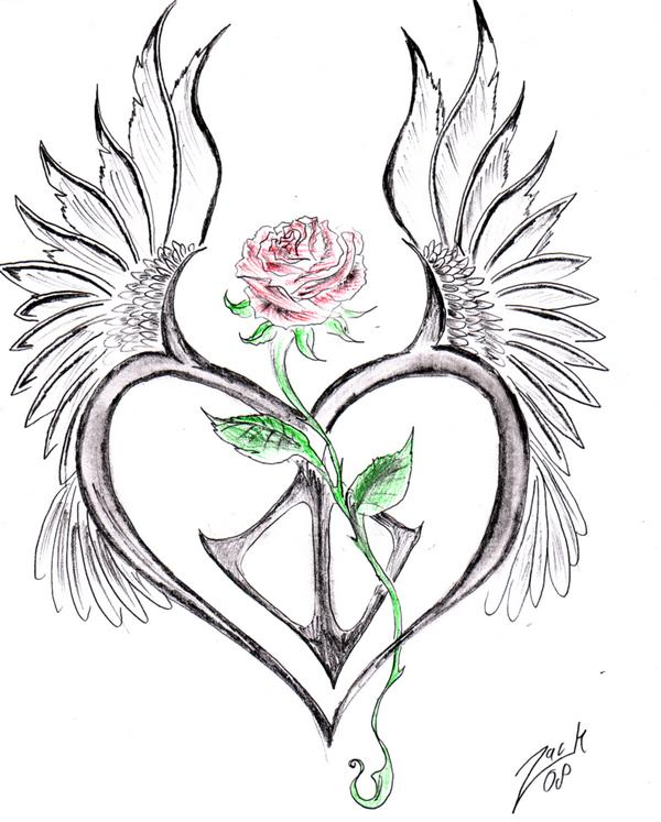 Roses And Heart Drawing