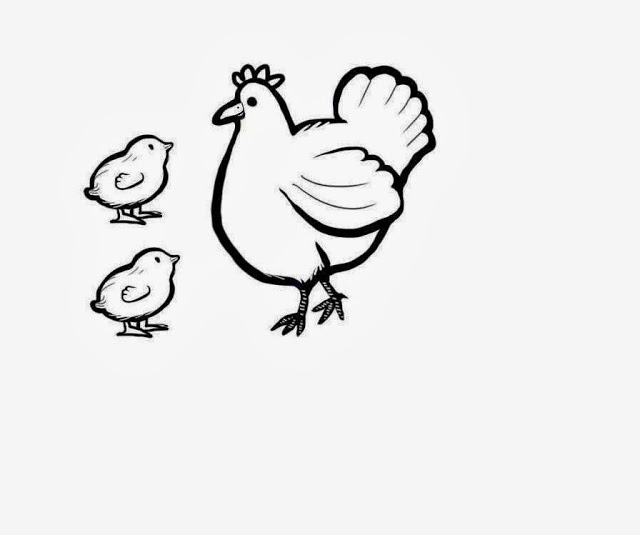 Colour drawing free wallpaper hen and chicken mom baby drawing Drawing images free download