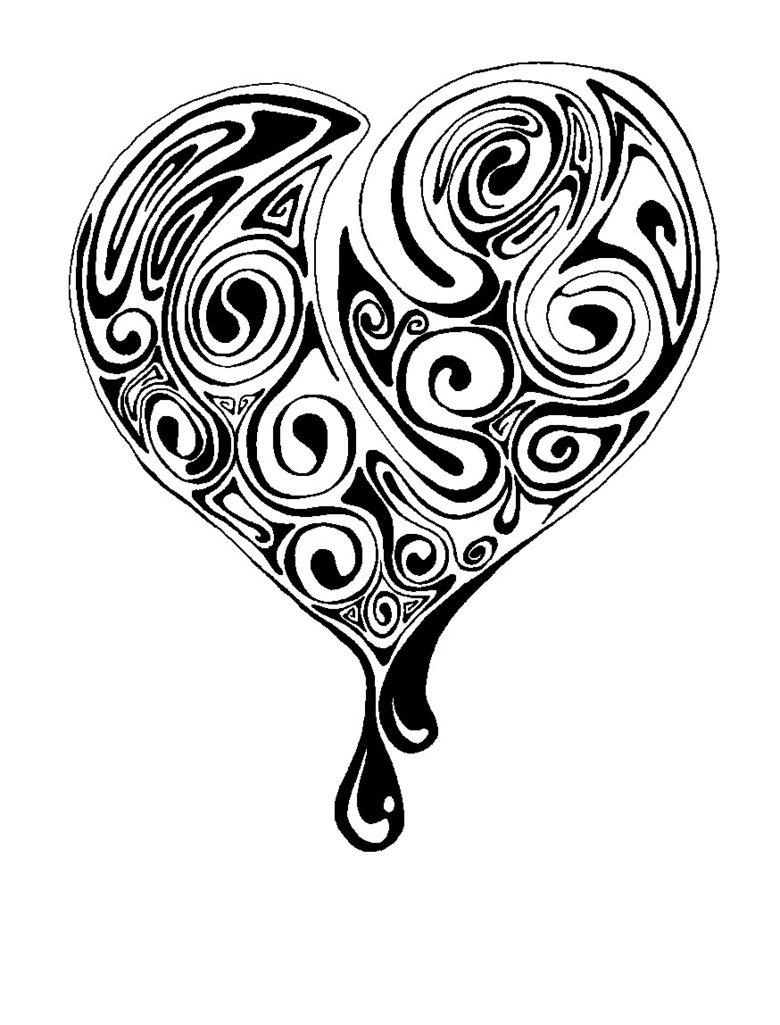 Human heart tattoo black and white