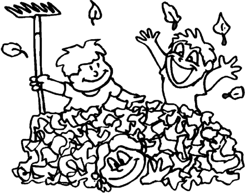 Co coloring page for leaves - The Two Children Were A Big Bus Stopped Coloring Page