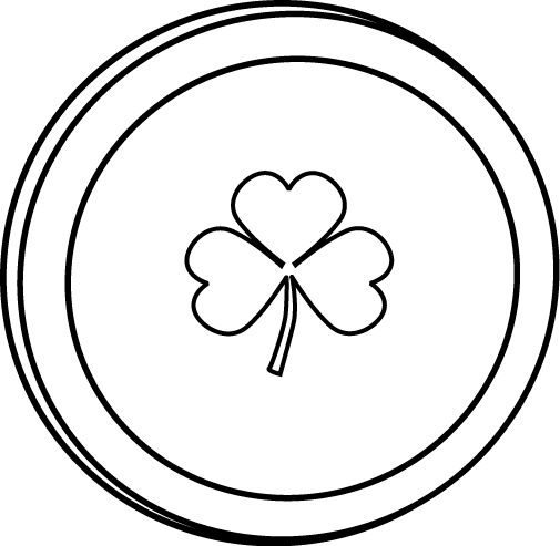 Single Black and White Saint Patrick's Day Coin Clip Art - Single ...