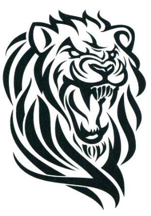 Lion Face Drawing Tribal Amazon com Black Tribal Lion