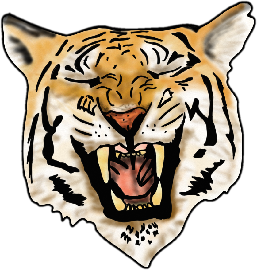 Airbrush Tiger image - vector clip art online, royalty free ...